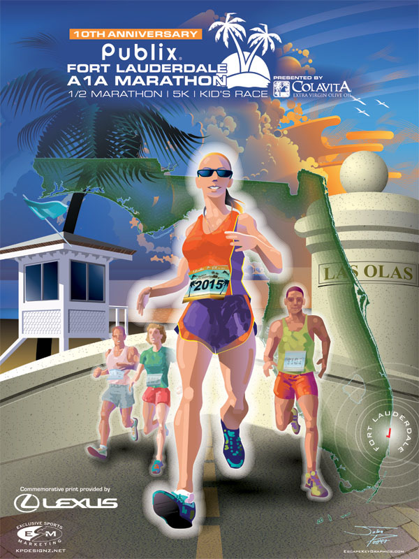 Fort Lauderdale A1A Marathon Poster Illustration