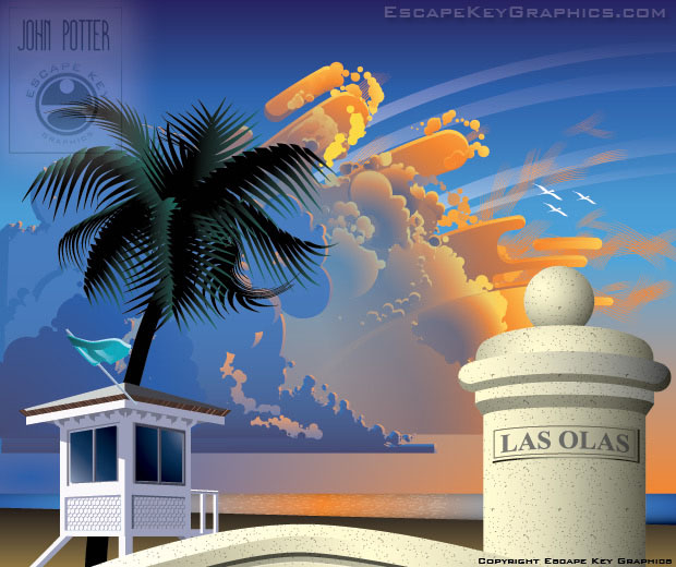 Fort Lauderdale Beach Illustration