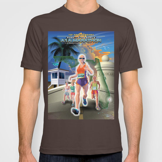 Fort Lauderdale A1A Marathon Poster Illustration t shirt