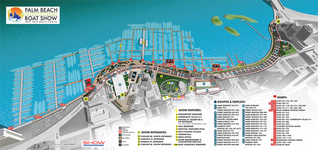 illustrated map for the 2016 Palm Beach International Boat Show
