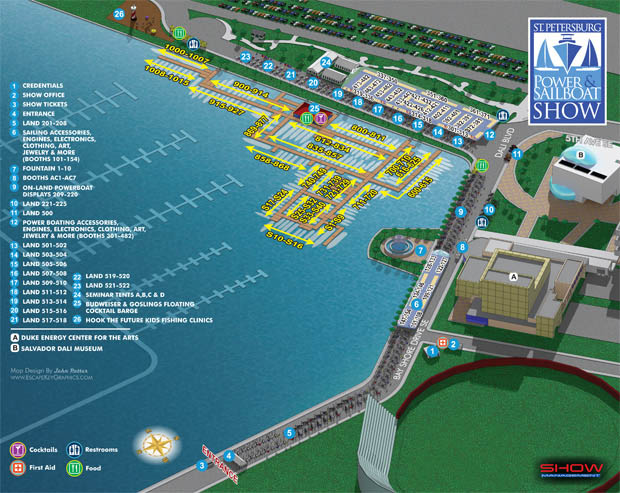 illustrated map for the 2015 Saint Petersburg Power & Sailboat Show