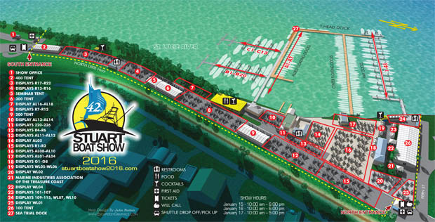 illustrated map for the 2016 Stuart Boat Show