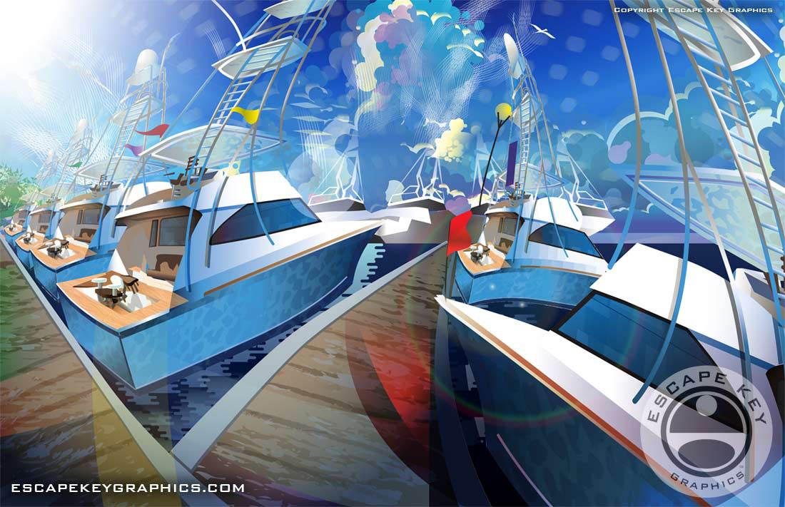 Illustrated marina