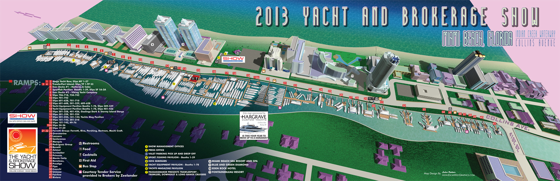 Miami Yacht and Brokerage Show in Miami Beach 2013 map