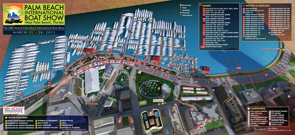 2013 Palm Beach Boat International Show Map