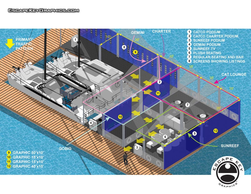 Diagrammatic illustration of an exhibitor's space