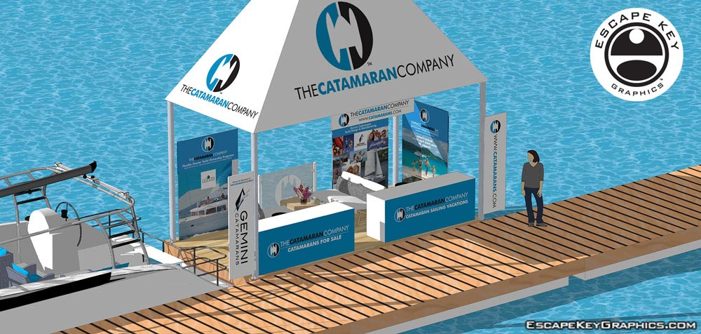 simple 3D illustration of a trade show space