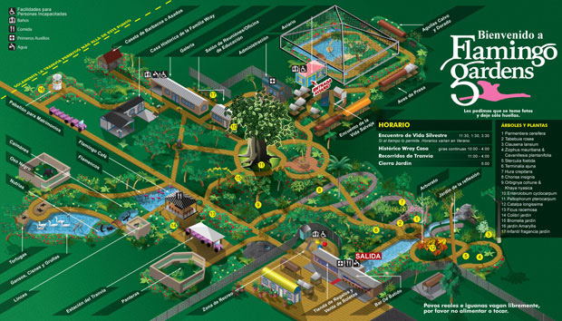 Flamingo Gardens map Spanish